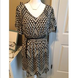 AUW Sheer Geometric Patterned Overlay Dress